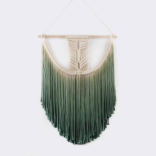 Grüner Makramee-Wandbehang